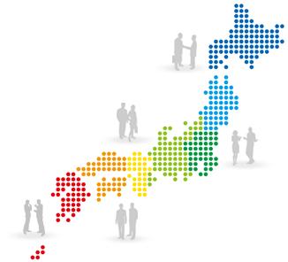 日本地図をエリアで区分けしたイラスト